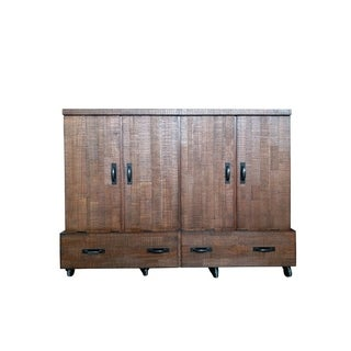 Reclaimed Queen Size Mobile Wallbed in Reclaimed Brown Finish