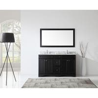 Virtu USA Talisa 60-inch Carrara White Marble Double Bathroom Vanity Set with Faucet Options
