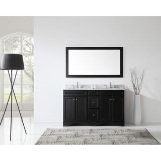 Virtu USA Talisa 60-inch Carrara White Marble Double Bathroom Vanity Set with Faucet Options