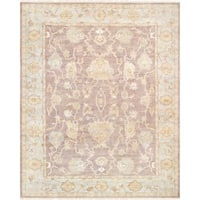 "Pasargad Oushak Hand-Knotted Brown/L.Blue Wool Area Rug (9' 3"" X 11'10"")"