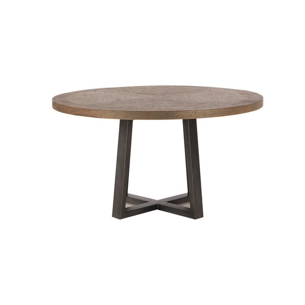 Mango Wood 54 Round Dining Table in Weathered Teak by World Interiors - Grey