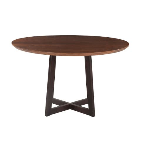Mapai 48-Inch Round Acacia Wood Table in Walnut Finish - Brown