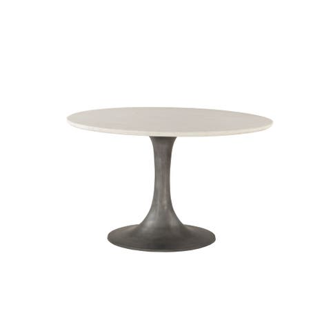 Palm Desert White Marble and Steel Round Dining Table