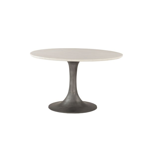 Palm Desert White Marble and Steel Round Dining Table - N/A