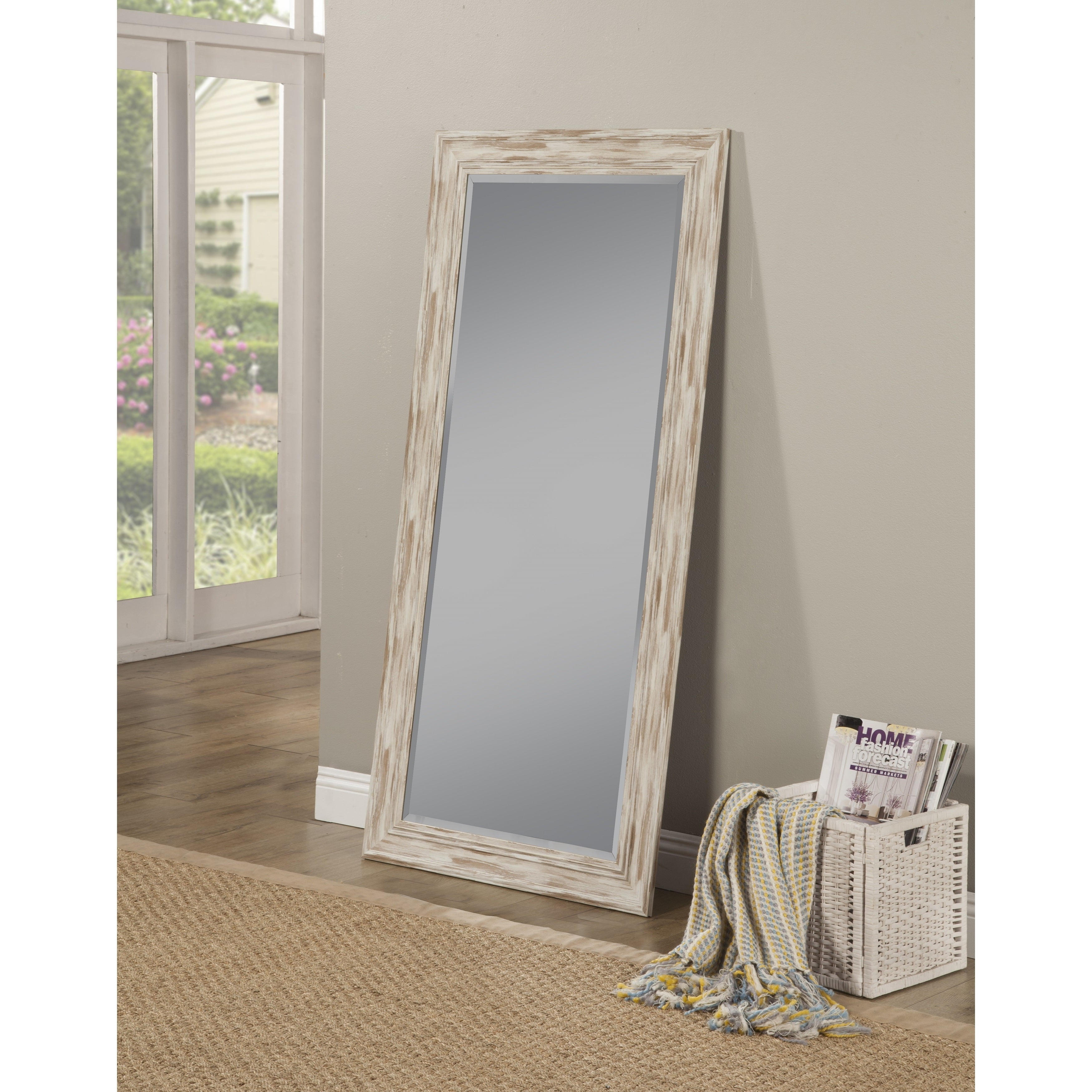 Antique White Wash Farmhouse Full Length Leaner Mirror Antique White A N Overstock 17478380