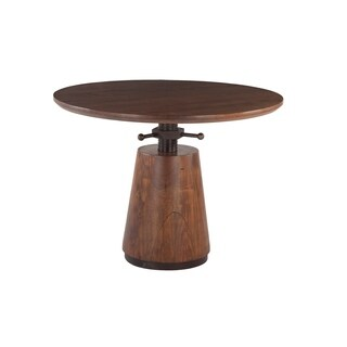 Amici 40-Inch Round Acacia Wood Dining Table with Antique Zinc Accents - Walnut - N/A