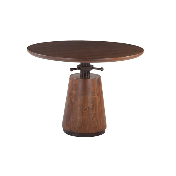 Amici 40-Inch Round Acacia Wood Dining Table with Antique Zinc Accents - Walnut