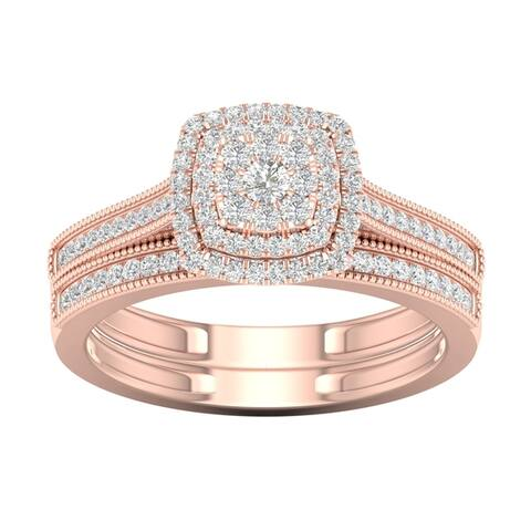 De Couer 10k Rose Gold 1/3ct TDW Diamond Cluster Halo Bridal Set (IGI Certified) - Pink