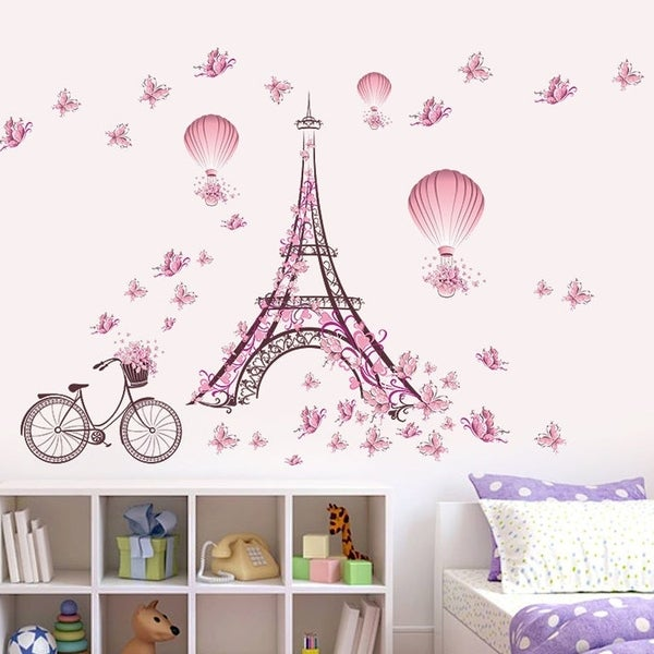 Shop Pink Flower Bicycle Eiffel Tower Wall Sticker Home Decor Mural ...
