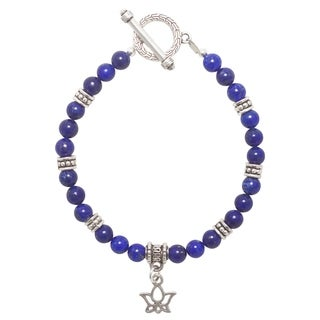Handmade - Healing Stones for You Lapis Lazuli Lotus Flower Bracelet (USA) - Blue