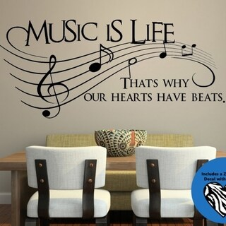 Music Is Life, That's Why Our Hearts Have Beats Wall Vinyl
