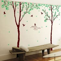 Giant Huge Large Brown Birch Tree & Green Leaves Branches Black Birds Wall Vinyl