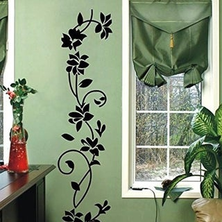 Black Rattan Flower Removable Wall Vinyl