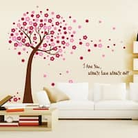 Pink Cherry Blossom Tree & Flowers Wall Vinyl