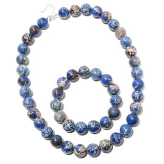 """Sterling Silver Blue Variscite 19"""" Beaded Necklace & 6.5"""" Stretch Bracelet Set