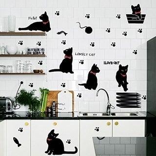 Cute Cartoon Black Cat Scene Wall Vinyl