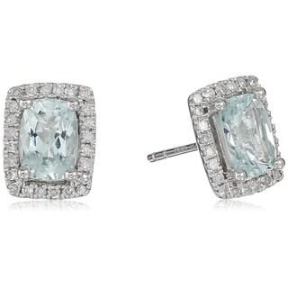 10k White Gold Aquamarine Diamond Princess Diana Earrings