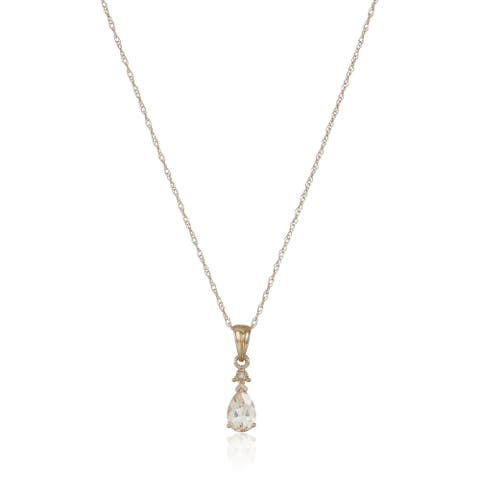 "10k Rose Gold Morganite & Diamond Pendant Necklace, 18"" - Pink"