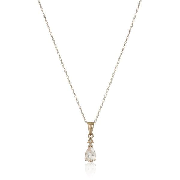 "10k Rose Gold Morganite & Diamond Pendant Necklace, 18"" - Pink"