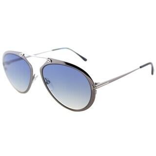 Tom Ford Aviator TF 508 12W Unisex Shiny Dark Ruthenium Frame Blue Gradient Lens Sunglasses