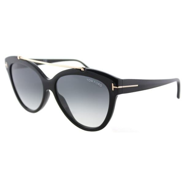 975daccd37 Tom Ford Cat-Eye TF 518 01B Womens Shiny Black Frame Grey Gradient Lens  Sunglasses
