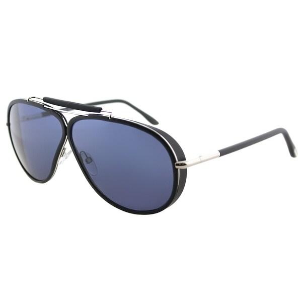 8df8b87fd08 Tom Ford Aviator TF 509 02V Unisex Matte Black Frame Blue Lens Sunglasses