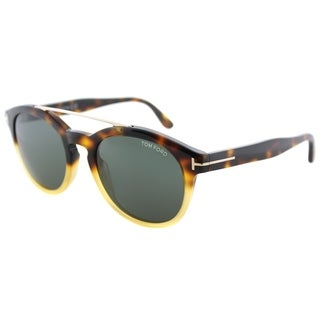 Tom Ford Round TF 515 56N Unisex Havana Gradient Frame Green Lens Sunglasses