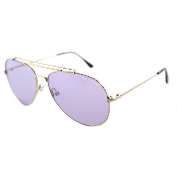 2d430ab9f1c Tom Ford Aviator TF 497 28Y Unisex Shiny Rose Gold Frame Violet Lens  Sunglasses
