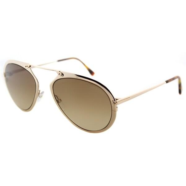 6ebe961945 Tom Ford Aviator TF 508 28F Unisex Shiny Rose Gold Frame Brown Gradient  Lens Sunglasses