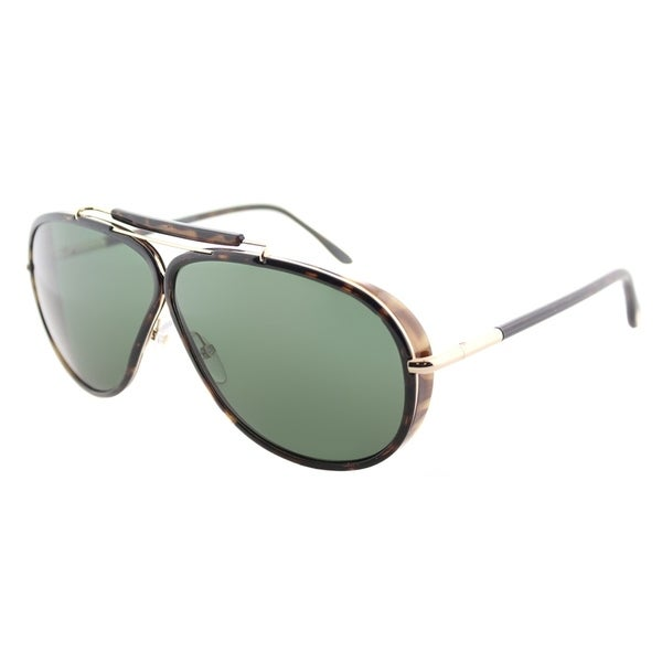 Tom Ford Aviator TF 509 52N Unisex Dark Havana Frame Green Lens Sunglasses