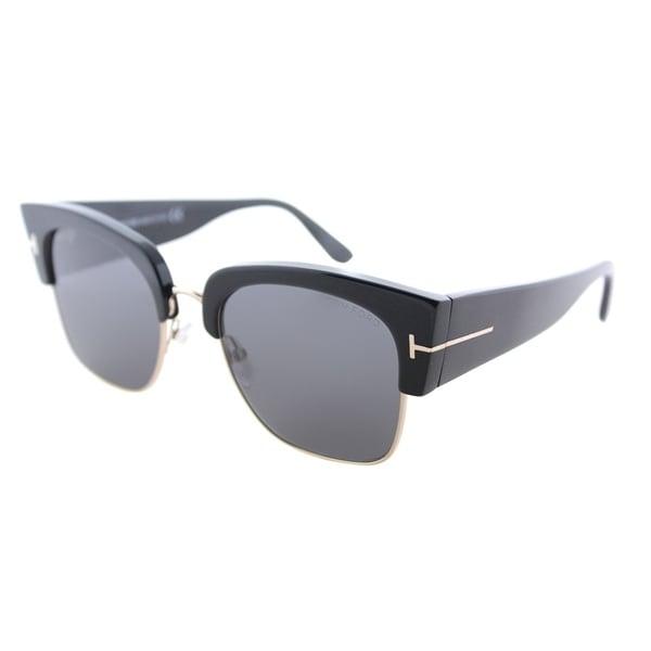 4c00046c4075e Tom Ford Square TF 554 01A Unisex Shiny Black Frame Grey Lens Sunglasses