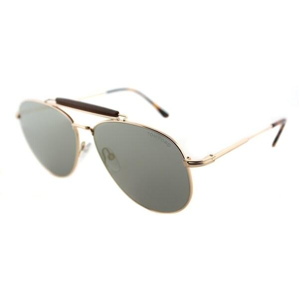 b2f9d5128e Tom Ford Aviator TF 536 28C Unisex Shiny Rose Gold Frame Silver Mirror Lens  Sunglasses