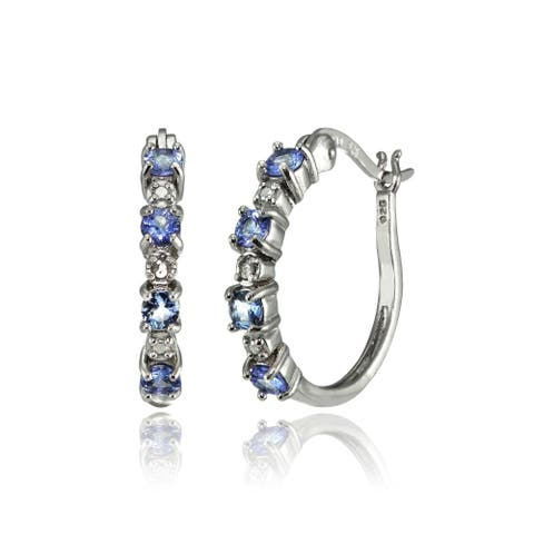 Glitzy Rocks Sterling Silver Tanzanite 20mm Round Hoop Earrings