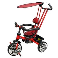 Trike with Push Bar and Flat Canopy - Red