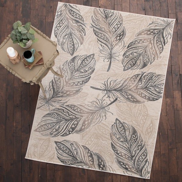 """Mayberry Rug Feather Area Rug Cream (5'3""""x7'3"""") - 5'3"""" x 7'3"""""""