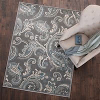 Mayberry Rug Paisley Area Rug Gray - 5'3 x 7'3
