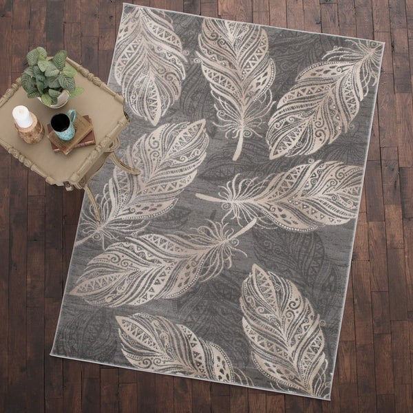 Shop Mayberry Rug Feather Area Rug Gray 5 3 X 7 3 On