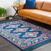 Boho Medallion Tassel Blue and Pink Area Rug - 7'10 x 10'