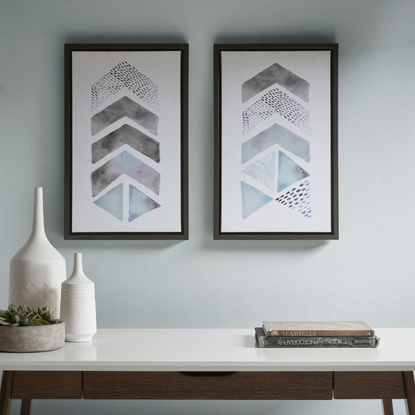 Urban Habitat This and That Way Blue/ Grey Framed Gel Coat Canvas - Set of 2. Opens flyout.