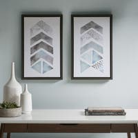 Urban Habitat This and That Way Blue/ Grey Framed Gel Coat Canvas - Set Of 2