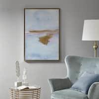 Madison Park Pastel Moor Blue/ Sand Framed Gel Coat Canvas
