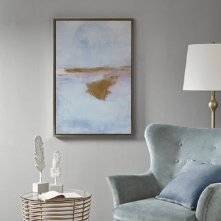 Madison Park Pastel Moor Blue/ Sand Framed Gel Coat Canvas With Gold Foil/ Cardboard Backer