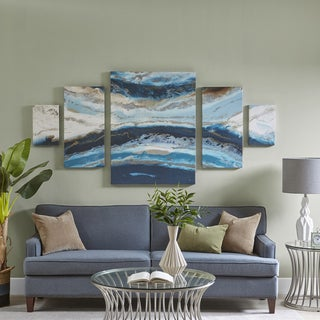 Madison Park Midnight Tide Blue Oversized 5 Pieces Set Gel Coat Canvas With Card Board Backer