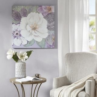 Madison Park Plum and Lavender Garden Purple Floral Gel Coat Canvas With MDF Backer