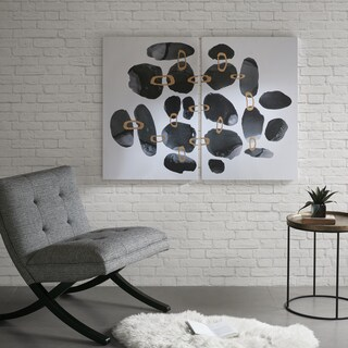 INK+IVY Liquid Stones Black/ White Gel Coat Canvas With Gold Foil/ MDF Backer - Set of 2