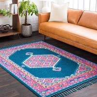 Boho Medallion Tassel Blue and Pink Area Rug - 2' x 3'