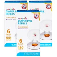 Munchkin Arm & Hammer Diaper Pail Snap with Seal and Toss Refill Bags - 18 Pack
