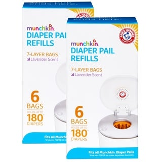 Munchkin Arm & Hammer Diaper Pail Snap with Seal and Toss Refill Bags - 12 Pack