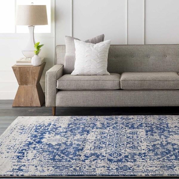 Haute-Hali Persian Distressed Blue Area Rug (2'7 x 12')