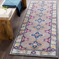 "Persian Inspired Boho Gray & Pink Runner Rug - 2'7"" x 7'3"""